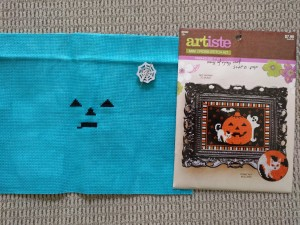 Artista Halloween kit. I'm using a bright blue from Garibaldi's Needleworks. Life's too short to stitch the entire black background! Blue will look very nice, methinks.
